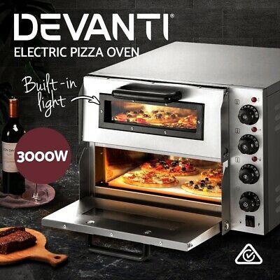 Devanti Electric Pizza Stone Oven Maker Commercial Twin Deck Stainless Steel NEW