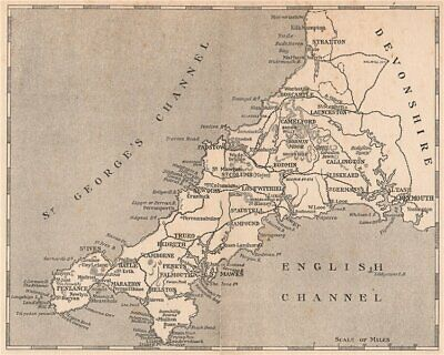 CORNWALL. Sketch-map of Cornwall 1915 old antique vintage plan chart