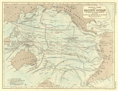 PACIFIC OCEAN. Physical chart. Currents, temperature & trade routes 1850 map