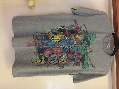 Loose Retro Hulk Official Mens Marvel Comics Superheroes Collage Grey T-Shirt