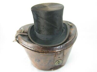 Vintage Leather Top Hat Box With Top hat!