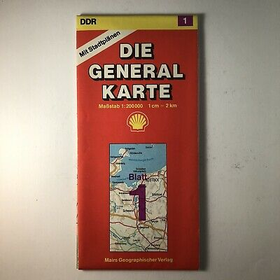 Road Map East Germany 1990 Die General Karte