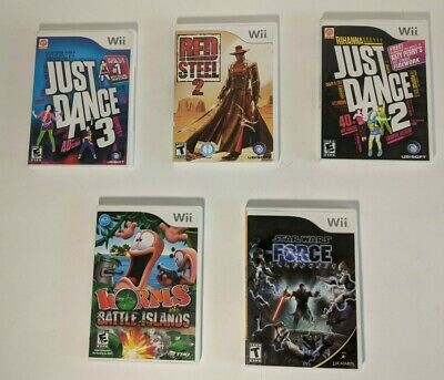 Lot Of 5 Nintendo Wii Games. Tested. Partially Complete. (Star Wars,Just Dance)