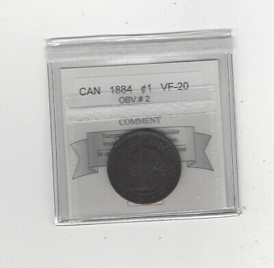 1884 Obv.#2  Coin Mart Graded Canadian, Large One Cent, **VF-20**