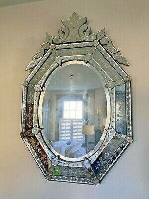 Authentic Vintage/antique ORNATE BEVELED Arched VENETIAN WALL MIRROR on wood