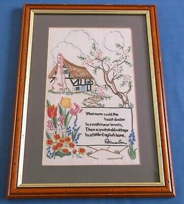Vintage Cottage Garden Hand Embroidered Picture Patience Strong Poem Verse