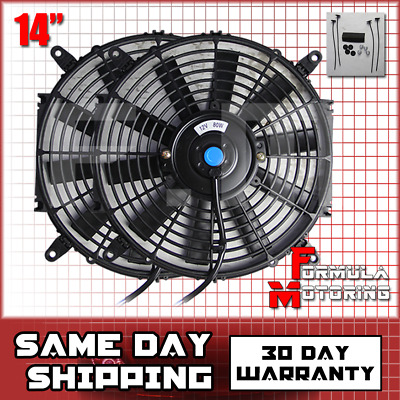 """2X Jdm 12/"""" Inch Radiator Fan Thin Electric Cooling 12V 1500Cf Red+Coolant Tank"""
