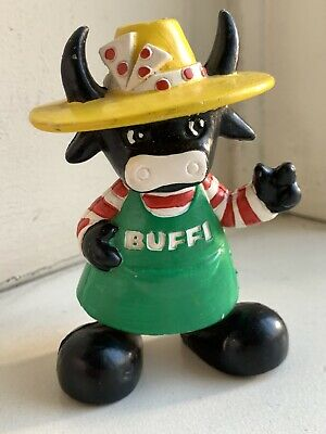 Rare Unusual Vintage Buffi Cow Advertising Rubber Toy Figure