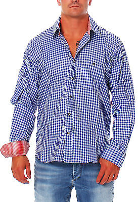 Men's Costume Shirt Shirt Engelleiter Blue White Plaid Traditional Shirt