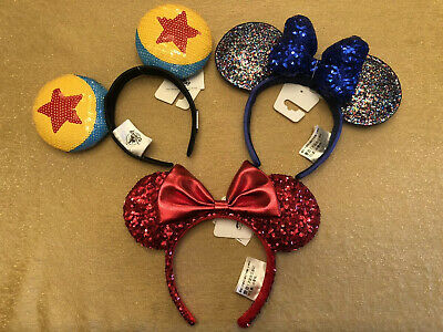 Disney Parks Pirate Redd Red Sequin, Luxo Ball & Blue 2020 Minnie Mouse Ears Set