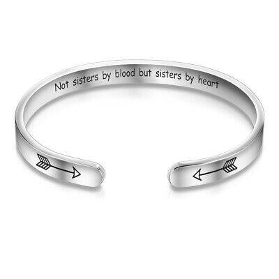 Open Cuff Bangle No Sisters By Blood But Sisters By Heart Bracelet Friendship UK