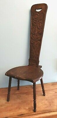 Chair Stool Spinning Stool Arts & Crafts Oak Hand Carved Scottish Sunflower