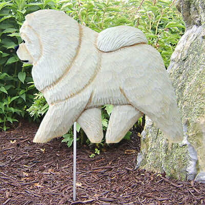 Chow Chow Outdoor Garden Sign Hand Painted Figure Cream