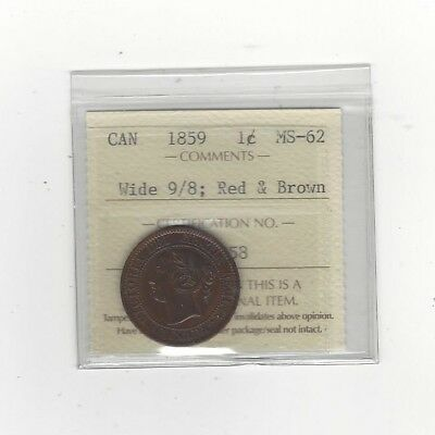 1859 Wide 9/8, ICCS Graded Canadian, Large One Cent, **MS-62**