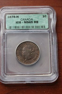1876H, ICG Graded Canadian, Large One Cent, **MS-65**