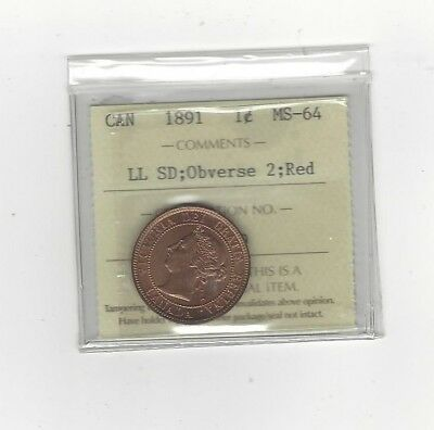 1891 LL:SD Obv #2, ICCS Graded Canadian, Large One Cent, **MS-64**
