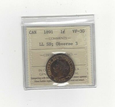 1891 SD/LL Obv#3, ICCS Graded Canadian, Large One Cent, **VF-30**