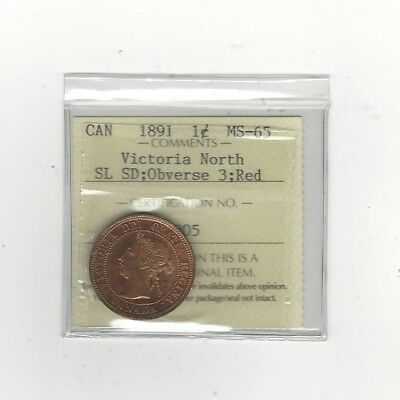 1891 SL:SD Obv #3, ICCS Graded Canadian, Large One Cent, **MS-65**Victoria N.
