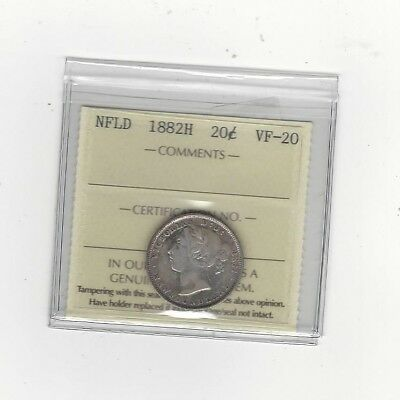 1882H,ICCS Graded, Newfoundland 20 Cent, **VF-20**