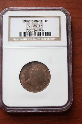 1909, NGC Graded Canadian, Large One Cent, **MS-64**
