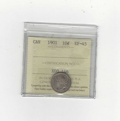 1901 ICCS  Graded Canadian,  10  Cent, **EF-45**