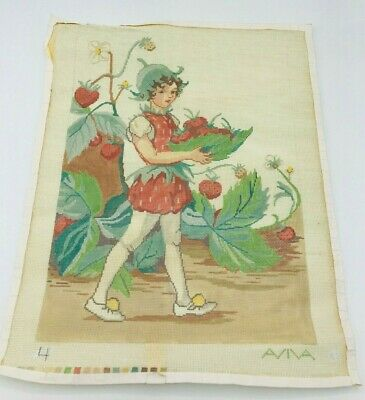 Hand Painted Needlepoint Pattern Canvas Strawberry Patch Aviva Elf Pixie Imp