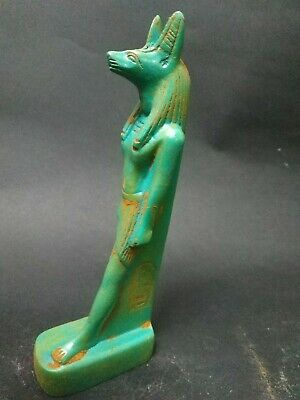 Antique  Anubis Ancient Egyptian God of the Afterlife Figurine green bc