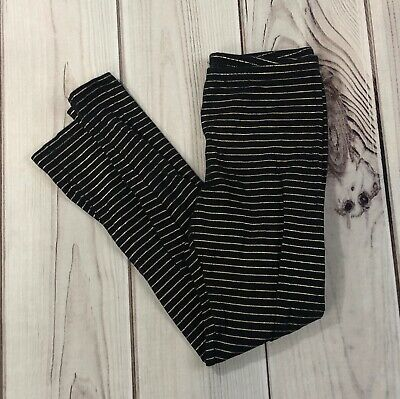 Old Navy girls leggings L 10-12 black with gold stripes