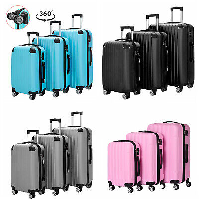 3 Pieces Travel Luggage Set Business Bag ABS Trolley Carry On Suitcase TSA Lock