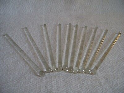 10 Vintage Clear Glass Bar Cocktail Swizzle Sticks/Stirrers New Old Stock UNUSED