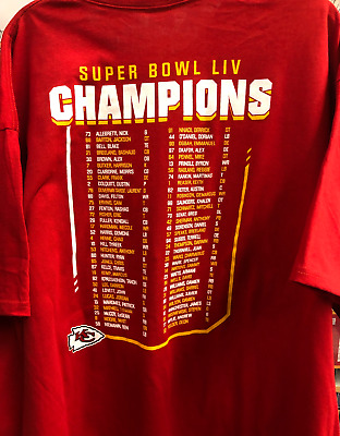 Kansas City Chiefs Super Bowl Championship Shirt With Team Roster On Back