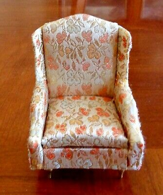 Vintage  Dollhouse Furniture Ideal Petite Princess Salon Wing Chair Gold