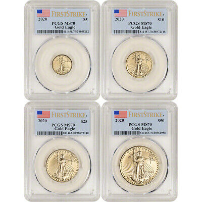 2020 American Gold Eagle 4-pc Year Set - PCGS MS70 First Strike