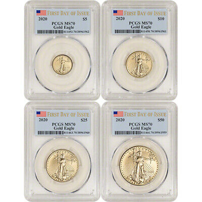 2020 American Gold Eagle 4-pc Year Set - PCGS MS70 First Day of Issue