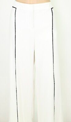 Alfani Womens Dress Pants Ivory White Size 8 Crochet-Trim Wide-Leg $74 589