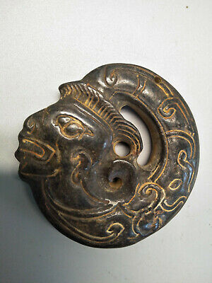 Hongshan culture Magnetic jade stone carved Person's face jade pendant L371