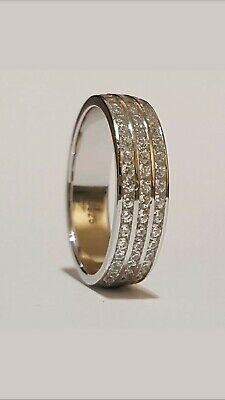 New Sterling Silver 925 Unisex Cubic Zirconia Satin Wedding Band Ring 4mm G7187