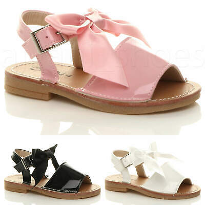 Girls Kids Childrens Infant Buckle Ribbon Bow Menorcan Summer Sandal Shoes Size