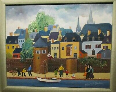 IRENE DARGET-BASTIEN-Oil Painting-Sous Les Remparts-FRENCH NAIVE PAINTING