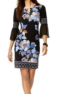 JM Collection Womens Sheath Dress Black Size XL Bell Sleeve Floral $59 092