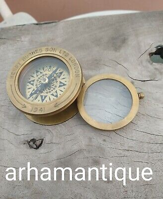 Solid Brass Antique Working Compass Marine Navigation Compass With Magnifier