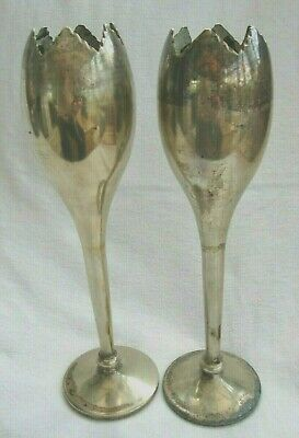 Antique Arts Crafts Two Tall Goblet Silver Plate Hamo Uk Epns Tulip Stem Flutes