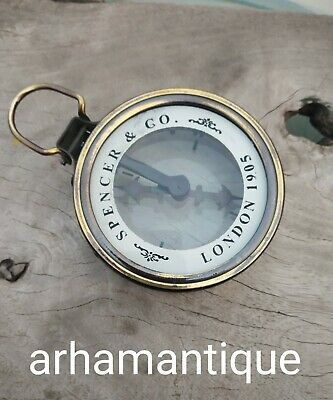Nautical Solid Brass Antique Magnifier Glass Compass Maritime Camping Compass