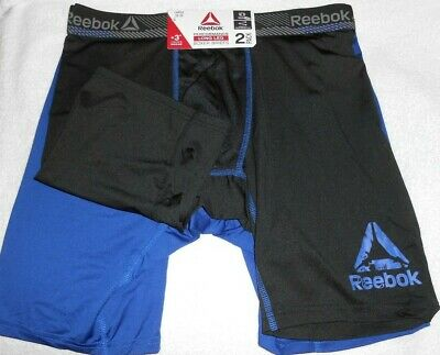 "2-pack Men's Reebok 9"" Performance Long Leg(+3"") Boxer Briefs, Black/Blue, Large"