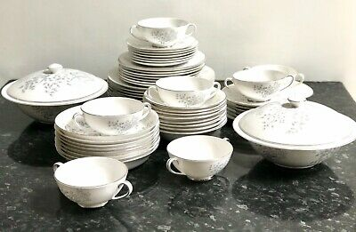 """Dinner Set for 6 White Grey Tuscan China Pattern """"Woodside"""" Plates Bowls"""