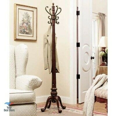 Wooden Coat Rack Hanging Tree Clothes Hanger Stand Hall Solid Wood Free Standing