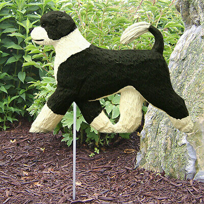 Portuguese Water Dog Outdoor Garden Sign Hand Painted Figure Black/White