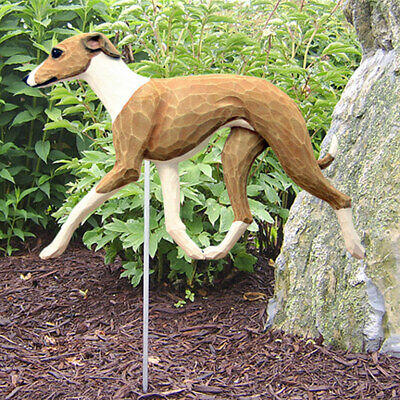 Italian Greyhound Outdoor Garden Sign Hand Painted Figure Fawn/White