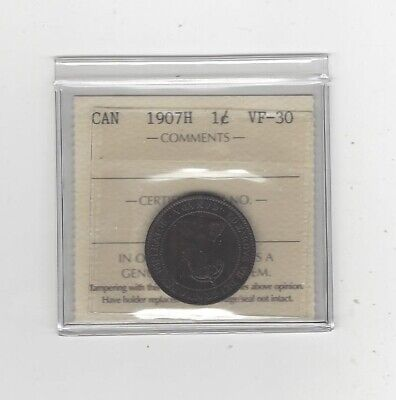 1907H  ICCS Graded Canadian, Large One Cent, **VF-30**