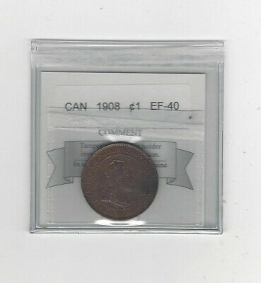 1908  Coin Mart Graded Canadian, Large One Cent, **EF-40**
